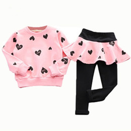 Wholesale long skirt sport suit - Wholesale- 2016 autumn children clothing heart long sleeve sweater + pants skirt fashion baby sport suit tracksuit for girls kids chothes