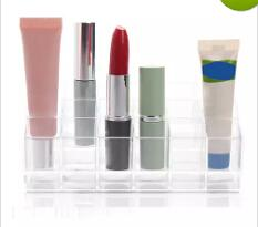 Wholesale Wholesale Makeup Display Stand - Wholesale- Clear Acrylic 24 Lipstick Holder Display Stand Cosmetic Organizer Makeup Case free shipping