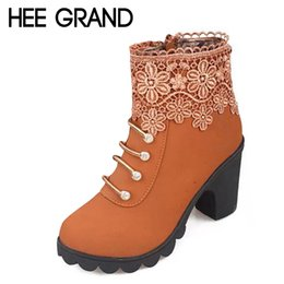 Wholesale Sexy Ladies Heel Lace Boots - Wholesale-HEE GRAND 2016 Women Boots Fashion PU Leather Round Toe Ankle Boots Sexy Lace Ladies High Heels Platform Shoes Woman XWX2967