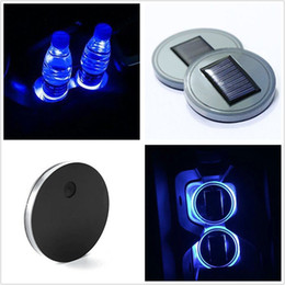 Wholesale Solar Car Cover - 2PCS Solar Cup Holder Bottom Pad LED Light Cover Trim Atmosphere Lamp For All Car Free shipping
