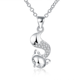 Wholesale Trendy Sweaters For Women - Cubic Zirconia Necklace Silver Plated Animal Design Cute Fox Shaped Pendant Necklace Lovely Trendy Jewelry for Girl Women Long Sweater Chain