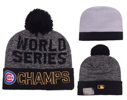 Wholesale Chicago Ball - Chicago Cubs Pom Beanies 2017 World Seris Champs Hotselling Sport Team Knitted Skullies Authentic Brand Winter Hats YD