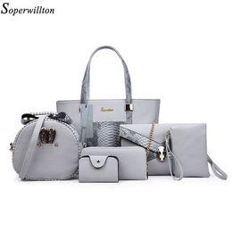 Wholesale Messenger Pieces - Wholesale- Soperwillton Composite Bags Women Shoulder Handbag Crossbody Messenger Bags 6 Pieces Set Serpentine Print PU Bags Female #1121