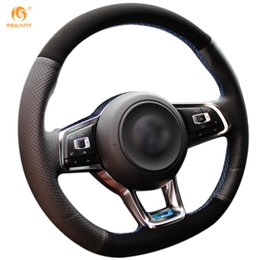 Wholesale Vw Gti Wheels - Mewant Black Genuine Leather Black Suede Steering Wheel Cover for Volkswagen Golf 7 GTI Golf R MK7 VW Polo GTI Scirocco 2015 2016