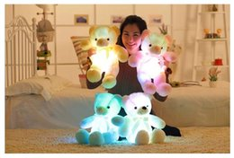 Wholesale Pink Stuffed Teddy Bears - 50cm Cute teddy bear cute plush toy doll pillow   LED bear pillow stuffed animals