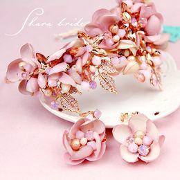 Wholesale Crystal Flower Necklace Handmade - Veu De Noiva Pink Rhinestone Handmade Crystal Beads Flower Hair Bridal Crown Prom Wedding Hair Accessories 2017 Chapeau Mariage