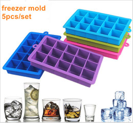 Wholesale Novelty Ice Cube Trays - 5pcs set 100% food grade silicone Novelty 15 Square Soft Silicone Ice Cube Tray Ice Maker Jelly Pudding Mould ice freezer mold
