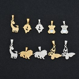 Wholesale Stainless Steel Chains Bear - UZone Cute Bear Shell Pendant Necklace Stainless Steel Animal Styles Necklace Animal Pet Charms Jewelry For Children Gift