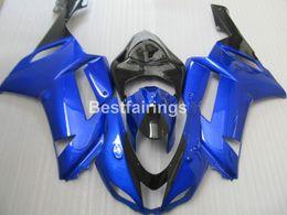 Wholesale Motorcycle Fairings Body Kits - Aftermarket body parts fairing kit for Kawasaki Ninja ZX6R 2007 2008 blue black motorcycle fairings set ZX6R 07 08 MA12