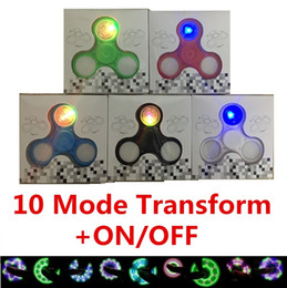 Wholesale Switch Off 12 - Pattern LED Hand Spinners 10 Mode Fidget Spinner With Switch ON OFF Triangle Finger Spinning Top Decompression Fingers Tip Tops Toys