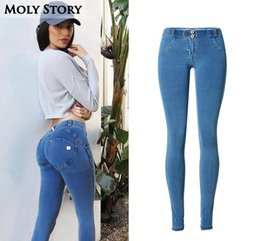 Wholesale Ladies Sexy Jeans Pants - Wholesale- Ladies Push Up Jeans Women Skinny Sexy Stretch Low Rise Jeans Femme Stretch Slim Jean Denim Pants Plus Size