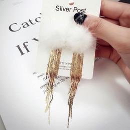 Wholesale Cloth Chandeliers - Flocked Cloth Fur Tassel Chain Earrings Long Rabbit Hair Feather Crystal Rhinestones Drop Fashion Elegant Gift For Women Jewelry