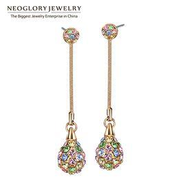 Wholesale Shamballa Dangle Earrings - Gold Plated Charm Multi Colorful Long Dangle Neoglory Earrings Women Fashion Shamballa Bohemian Jewelry birthday party wedding Anniversary