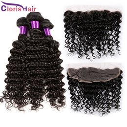 weave frontals Promo Codes - Peruvian Virgin Deep Wave Curly Human Hair Weaves With Closure 3 Bundles With Lace Frontal Closures Ear to Ear 13x4 Full Lace Frontals