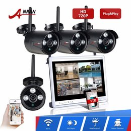 Wholesale Ip Camera Array - ANRAN HD 4CH Network Wifi NVR 12 Inch Screen 720P Plug Play Array 3 IR Waterproof Outdoor Wireless IP Camera Video Security CCTV System