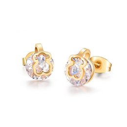 Wholesale Teddy Bears Diamond - The new rose gold cute teddy bear earrings stud earrings diamond stud earrings hollow out design