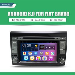 Wholesale Dvd Gps Fiat Bravo - Quad Core Android 6.0 Car DVD Player Stereo For FIAT BRAVO 1024*600 Bluetooth gps navigation Wifi Steering Wheel EW898P6QH