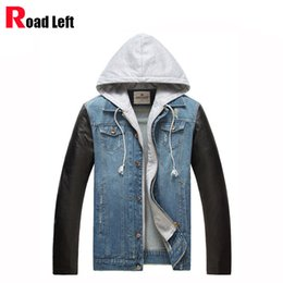 Wholesale Hoody Leather Jackets - Wholesale- New Fashion Male PU leather Sleeves Patchwork Denim Jacket Coat Men's Blue Jeans Hip Hop Casual Hoody Men Jackets Asian Size 3XL
