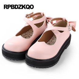 Wholesale Japanese School Bows - Kawaii Mary Jane Muffin Platform White Women Flats Shoes With Little Cute Bowtie Lolita Pink Japanese School 2017 Thick Sole Bow