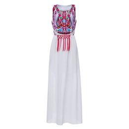 Wholesale Plus Size Maxi Dresses Sale - Hot sale Women Summer Maxi Long White Dresses Vintage Boho Style Totem Print Sleeveless Dress Plus Size