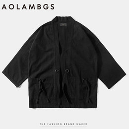 Wholesale Men S Kimonos - Wholesale- Aolamegs Mens kimono japanese clothes streetwear fashion casual kanye west kimonos jackets harajuku japan style cardigan outwear