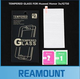 Película de huawei 3x online-200 piezas venden al por mayor 0.3 mm de vidrio templado 9H para Huawei Honor 3x G750 película Protector de pantalla premium con embalaje al por menor + kit de limpieza
