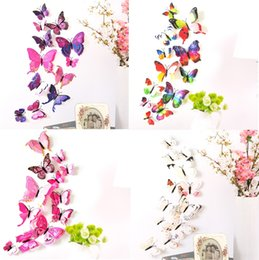 Wholesale Wall 3d Stickers Large - The simulation butterfly Double butterfly Refrigerator stick magnet  Pin 3 d butterfly PVC wall stickers right color 12pcs set I040