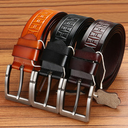 Wholesale Fancy Belts - New cowhide genuine leather belts for men cowboy Luxury strap brand male vintage fancy jeans designer belt men high quality