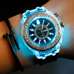 Wholesale Geneva Led - 50x Colorful Geneva fashion watches with LED light Wristwatches rubber unisex silicone quartz wrist hot sale Wristwatches Sports Watches