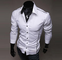 Wholesale Mens Black White Dress Shirts - Free Shipping Men Shirts Brand New Mens Slim Fit Casual Dress Shirts Color: Black, Gray, White