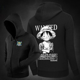 Wholesale One Piece Wanted - Wholesale- 2017 New One Piece Luffy Hoodies Monkey.D.Luffy Wanted Printed Mens Fleece Hooded Sweatshirts