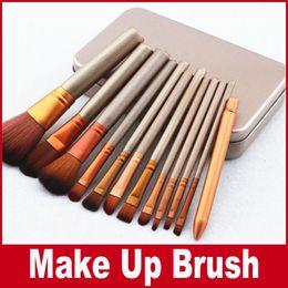 Wholesale Professional Facial Makeup - N3 Brush Professional 12pcs Makeup Cosmetic Facial Brush Kit Metal Box Brush Sets Face Powder Brushes