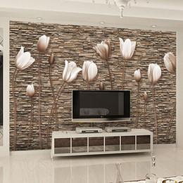 Grandes murais de parede florais on-line-Grande 3D Murais de Parede Foto Papel De Parede Flor para Sala de TV Fundo Papel De Parede Floral papel para pared Cliente