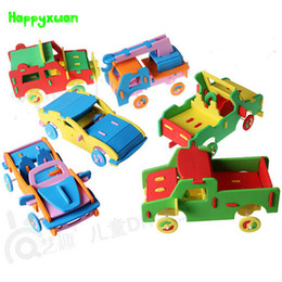 Wholesale Diy Toys Truck Car - HAPPYXUAN 6 pieces lot Cool Handmade 3D EVA Foam Puzzle Toy Racing Car Truck Vehicle Model Children DIY Craft Kits 3-6 years