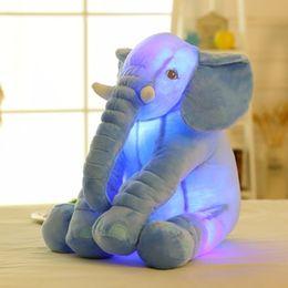 Wholesale Lead Elephant Toy - Wholesale- Colorful Glowing Soft Stuffed Plush Toy Elephant Pillow Flashing LED Light Luminous Elephant Doll Baby Birthday Gift for Kids