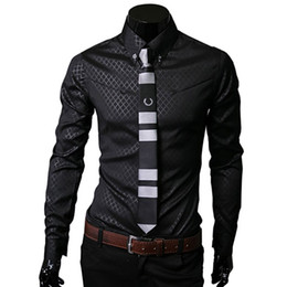 Wholesale Wholesale Plaid Shirts For Men - Wholesale- Plaid Shirts Brand 5XL Fashion Mens Dress Shirts Long sleeve Slim Fit Casual Social Camisas Masculinas for Man Chemise homme
