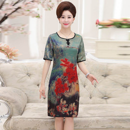 Wholesale Elderly Women Clothing - middle aged women clothes plus size The elderly mother in the south Korean print dress is wearing a short-sleeved skirt PYQ71812