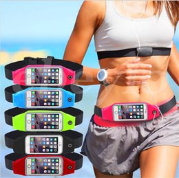 Wholesale Elastic Sports Waist Bag - Waterproof Running Sport Waist Belt Pouch Reflective elastic Adjustable Band Breathable Waist Mobile phone Bag For iPhone Android Smartphone