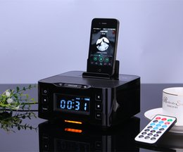 Wholesale Iphone Portable Docking Station - Wholesale- Portable Audio Music Wireless Bluetooth Speaker A9 NFC Radio Alarm Clock 8 Pin & Micro Charger Dock Station for iPhone 6s 7 Plus