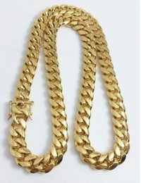 """Wholesale Curb Link Chain Necklace Men - Men 18k Yellow Gold Stainless Steel 12mm 24"""" Miami Cuban Curb Link Chain"""