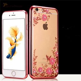 jardines de manzanas Rebajas Lujo Bling Diamond Electroplate Caso Secret Garden Flores Transparente Soft Tpu Cover para iphone 5s se 6 6 s plus 7 8 plus x samsung s7