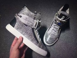 Wholesale Shoe Adornment - Fashion zanottys men's and women's high help sneakers Metal buckles adornment genuine leather casual shoes Free shipping