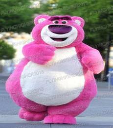 Wholesale Teddy Bear Carnival - High quality Pink Bear Mascot Costume teddy bear Adults Fancy dress Halloween carnival costume
