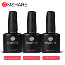 Wholesale Gel Resin Nails - Wholesale-MSHARE Reinforcement Gel + Wipe Top Coat Gel + Base Coat Gel 10ML Manicure Nail Polish Lacquer Germany Health Resin Material