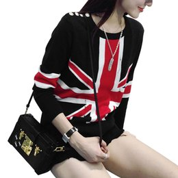 Wholesale Uk Flag Sweaters - Wholesale-Fashion Women's Distressed British UK flag Print Knit Sweaters Knitwear Jumper Tops knitted Pullover Long sleeve casual sweater