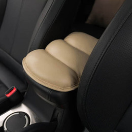Wholesale Center Console Arm Rest Universal - cream-coloured Hot sales Car Auto Armrests Cover Vehicle Center Console Arm Rest Seat Box Pad Protective Case Soft PU Mats Cushion Universal