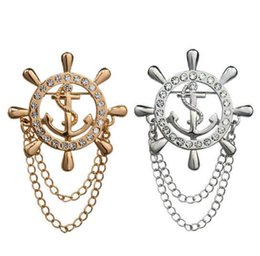 Wholesale Sailor Wedding Dress - New Fashion Women Men Gold Silver Color Crystal Rhinestone Anchor Brooches Rudder Helm Chain Tassels Dress Suit Brooch Lapel Pin Sailor