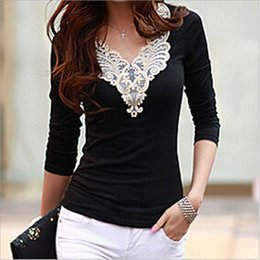 Wholesale Long Sleeved T Shirts Ladies - Lace stitching long sleeved V collar knit sweater show thin lady T-shirt 2017 autumn new Korean version ouc297