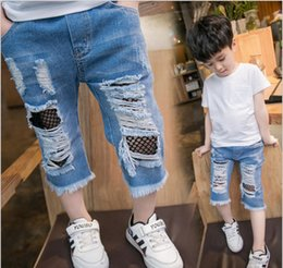 Wholesale Cool Clothes For Kids - Hot sale 2017 cool fashion casual kids clothing summer denim broken holes jeans shorts pants for boy baby 18M-7T