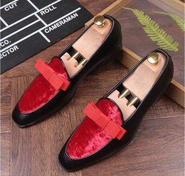 Wholesale Trendsetter Shoes - New luxury bowknot Design trendsetter pointed Bowtie Flats Shoes Male Mixed color Wedding Prom Pageant Quinceanera Business Oxford shoes 405